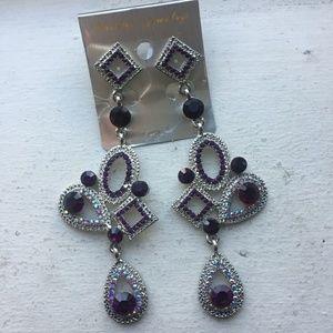 Purple Chandelier Pierced Earrings